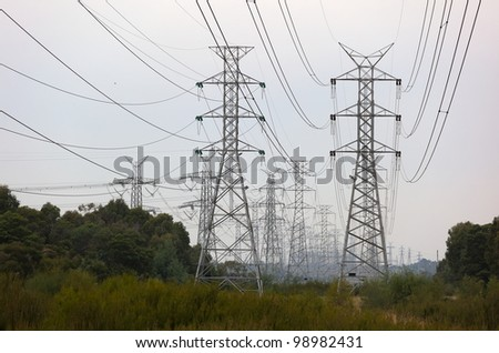 Power lines and towers on cloudy day. Melbourne. Australia.