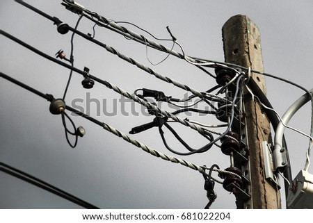 power lines. electricity distribution station. high voltage electric transmission tower. #681022204