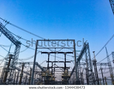 Power lines. Power equipment of power station. Production of Electric energy