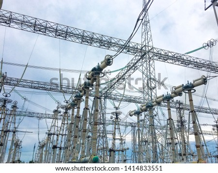 Power lines. Power equipment of power station. Production of Electric energy #1414833551