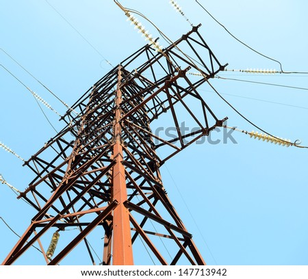 Power lines - power line against the blue sky