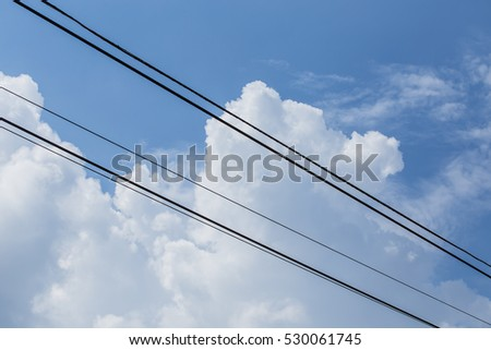 Power lines with sky behind #530061745