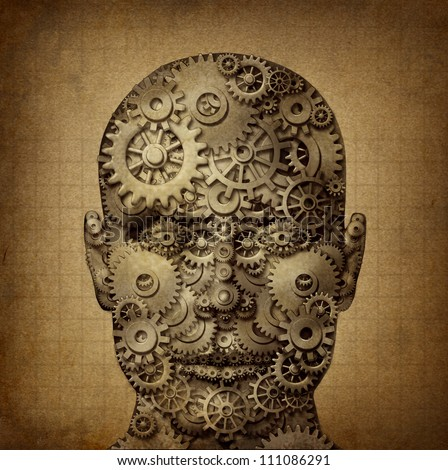 Power of human creativity with a front facing head made of gears and cogs on a grunge old parchment texture as a symbol of ingenuity and business or health success.