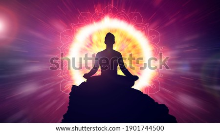 Power of meditation. Energy burst of chakra. Mindfulness power of awakening and self awerness. Great light of mental power. 3D rendering.