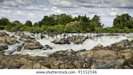 Power of nature : Li Phi Waterfalls in Panorama, Champasak, Southern of Laos.