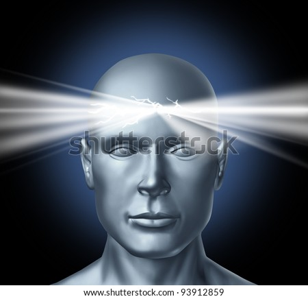 Power of the mind and the healing powers of the subconscious brain as inspiration for new ideas and human achievements success in life with a head and a glowing light shinning from the thinker.