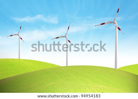 Power on blue sky ecology concept