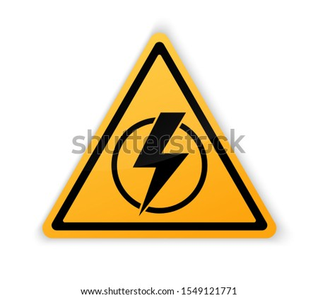Power outage. Symbol without electricity. Triangular yellow and black icon of electricity. Warning logo. Caution. Electricity lights out. Concept without electricity. Lightning. High voltage