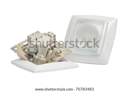 Power Outlet and socket isolated on white background