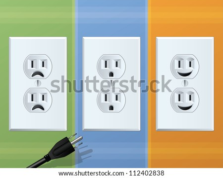 Power Outlet/Happy and Sad Receptacles