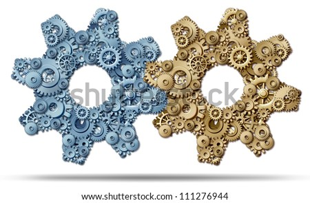 Power Partnership and joining business forces together to form a strong merged unity of success represented by a group of gears and cogs in the shape of a large machine part on a white background.