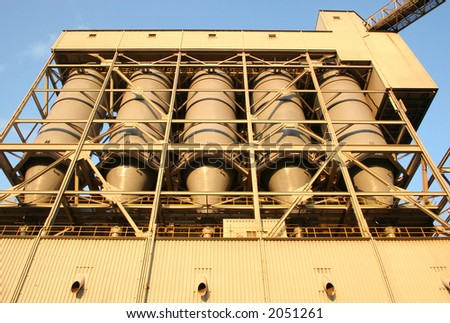 Power plant coal silos above pulverizers