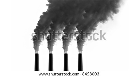 Power Plant emissions on white background