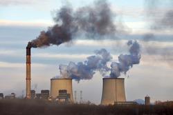 Power plant emitin smoke and steam