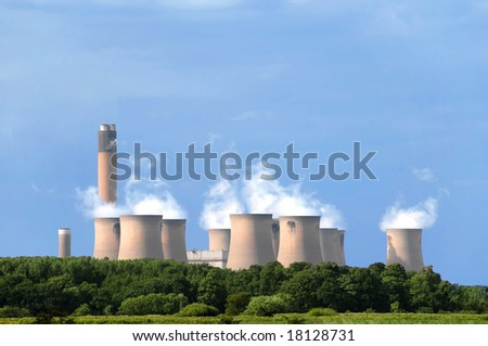 Power plant in the middle of nature - stock photo