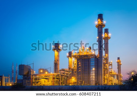 power plant in the petrochemical plant at blue sky #608407211