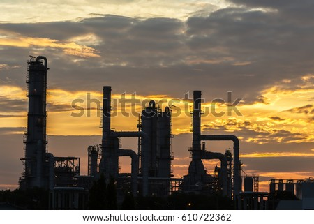 power plant in the petrochemical plant at blue sky #610722362
