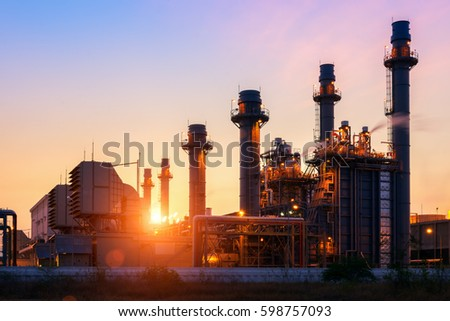 power plant in the petrochemical plant at twilight sky #598757093