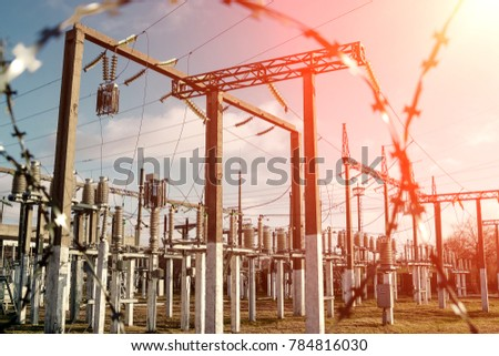 Power plant is a station of transformation. A lot of cables, poles and wires, transformers. Electro-energy. #784816030