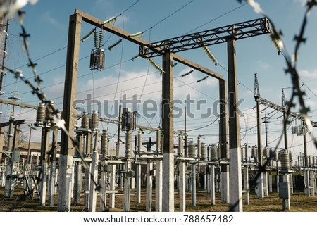 Power plant is a station of transformation. A lot of cables, poles and wires, transformers. Electro-energy. #788657482