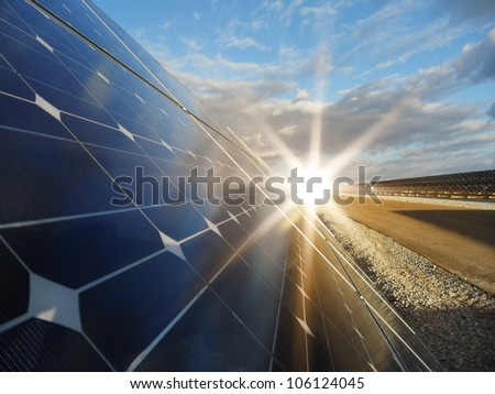 Power plant using renewable solar energy with sun - stock photo