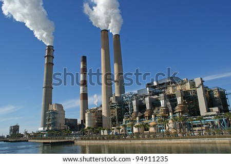 Power plant with four chimney next to the Manatee Viewing Center near Tampa