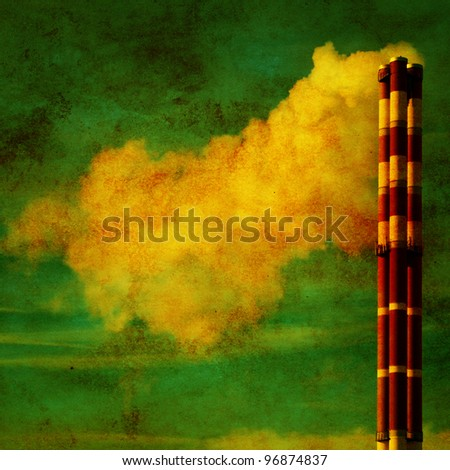Power plant with smoke in grunge and retro style.