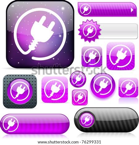 Power plug violet shiny set of buttons. - stock photo