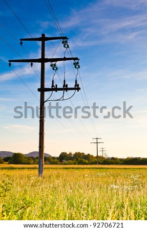 Power pole at dawn