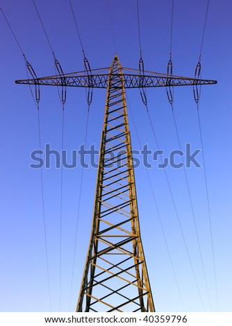 power pole at dawn on blue purple sky background