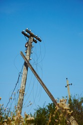 Power pole old broken after storm