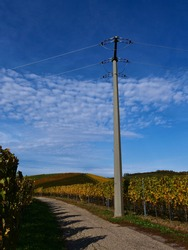 Power pole standing aside a paved agricultural road between vineyards with discolored green and yellow leaves in autumn near Durbach, Germany with blue sky and some fleecy clouds.