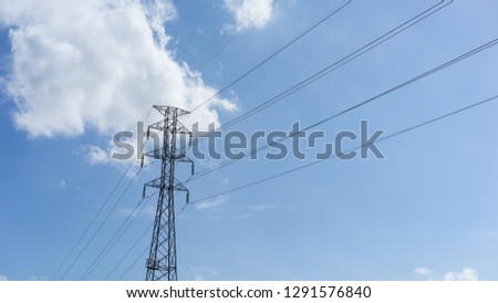 power pole with blue sky background  #1291576840