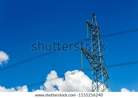 Power pylons and high-voltage lines against the background of the cloudy sky, power lines. #1155256240