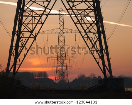 Power pylons in a row