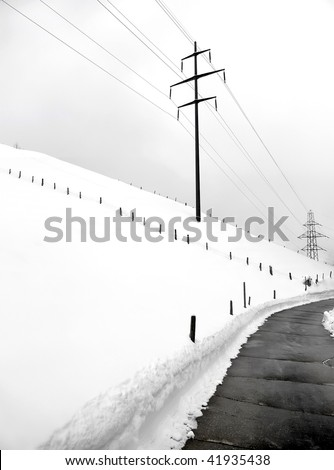 Power pylons on a winter day.