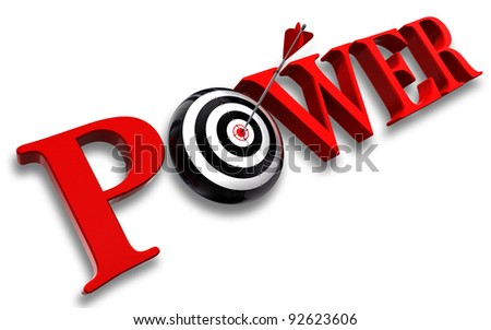 power red word and conceptual target with arrow on white background