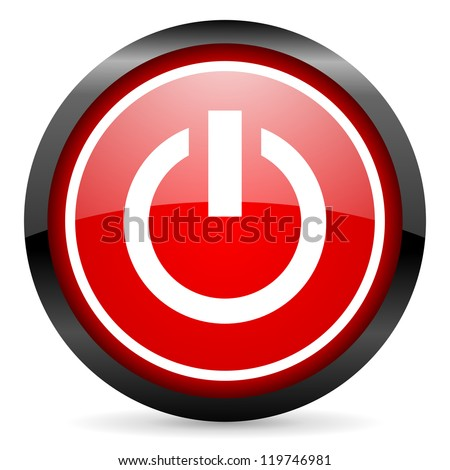 power round red glossy icon on white background