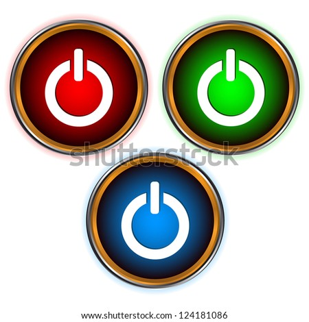Power set of three icons of different colors