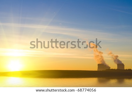 Power station against the sunrise