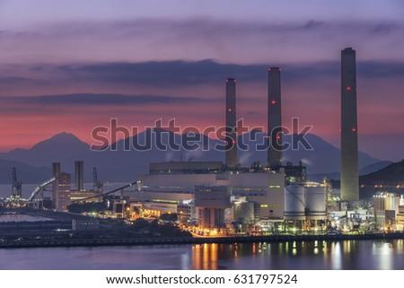 Power station at dusk #631797524