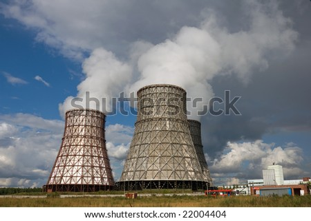 power station, water condensating towers