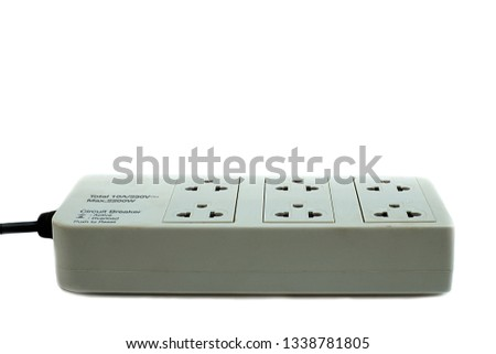 Power Strip plugs receptacle on white background #1338781805