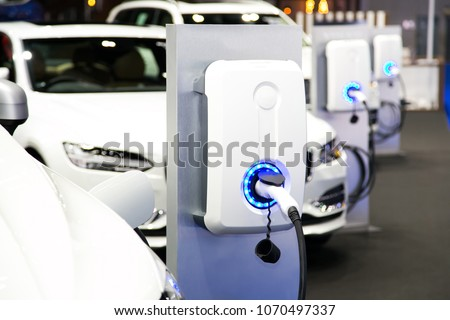 Power supply for electric car charging. Electric car charging station Stockfoto ©