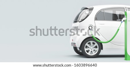 Power supply for electric car charging. Electric car charging station. 3d rendering Stockfoto ©