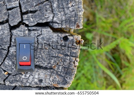 Power switch inserted to deadwood. Unique conservation, green business and alternative energy concept.