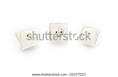 power switch, power plug, and door bell isolated on white