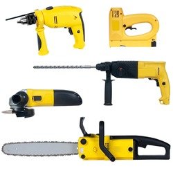 power tools set isolated on a white background