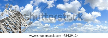 Power Tower. Blue sky and clouds for background. 3d render. Panorama