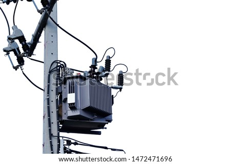 Power transformer. Electrical energy transfer to end users through distribution transformer on concrete pole changing high voltage to low voltage on isolated white background.                  #1472471696